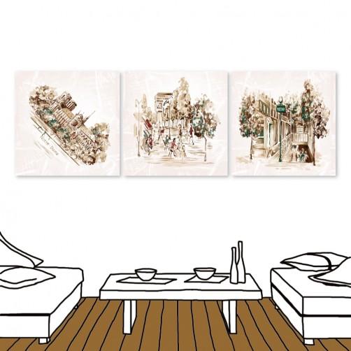 24mama 三聯式時尚無框畫 餐廳居家 30X30cm-復古風街景