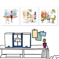 24mama 三聯式無框畫 時鐘掛畫 餐廳居家 30X30cm-都市風系列1