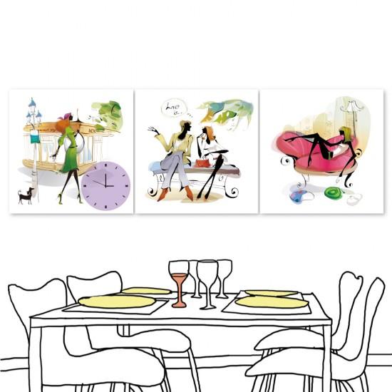 24mama 三聯式無框畫 時鐘掛畫 餐廳居家 30X30cm-都市風系列2