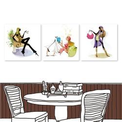 24mama 三聯式無框畫 時鐘掛畫 餐廳居家 30X30cm-都市風系列3