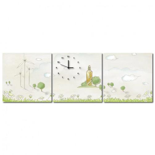 三聯式 方型 小清新 手繪風 小孩房 掛鐘 掛畫 家飾品-風的家鄉-30x30cm