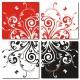 四聯式 方型 鮮明 對比 鮮豔 設計感 工作室 掛鐘 壁畫 裝飾-強烈主義30x30cm