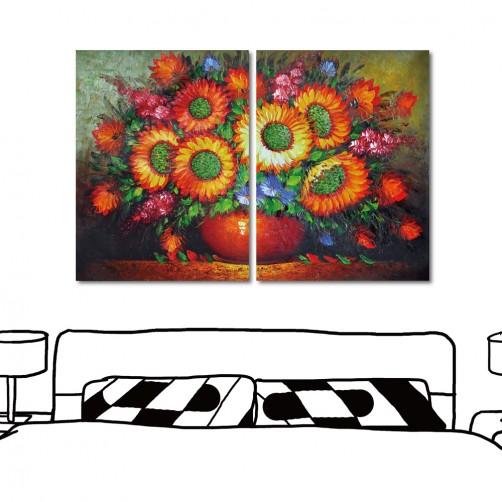 24mama 藝術無框畫 家居掛畫 掛畫花卉 二聯式 直幅 30x40cm-太陽花