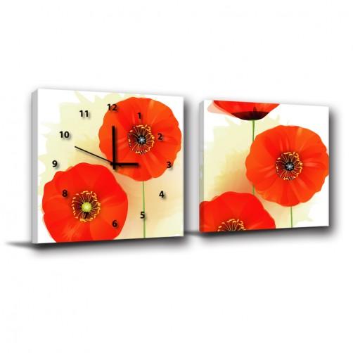 二聯式 方型 橘色 花卉 民宿 客廳 壁畫 掛飾 輕改造 家居-橘於一框30x30cm