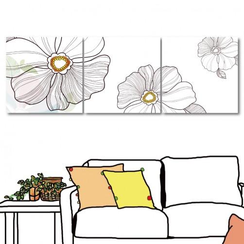 【123點點貼】 無框壁貼 壁貼 家居布置 三聯式 方形30x30cm-白色奶油花