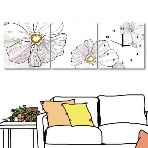 無框掛畫 居家掛畫 三聯式 方形30x30cm-白色奶油花