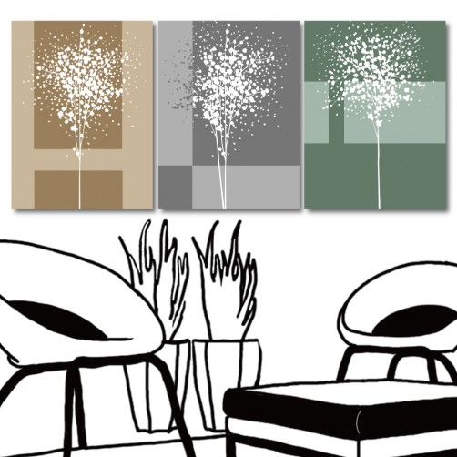 時尚掛畫 無框畫 家具飾品 三聯式 30x40cm-寧靜