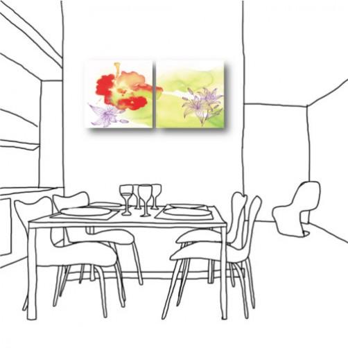 二聯式  方型 花卉 水彩 油畫 辦公室 長輩禮 無框畫 掛鐘 壁鐘 花店 客廳 民宿 餐廳 飯店-花世界30x30cm
