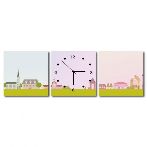 三聯式 方型 風景 粉色 無框畫 掛鐘 客廳 民宿飯店-粉紅城鎮30x30cm
