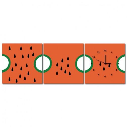 三聯式 方型 水果 西瓜 紅色 無框畫 掛鐘 客廳 民宿 餐廳 飯店-夏日清涼-30x30cm