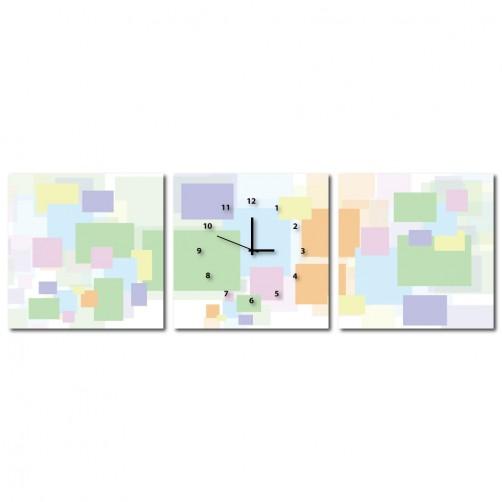 三聯式 方型 普普風 掛畫 無框畫 補習班佈置 家飾品-彩磚-30x30cm