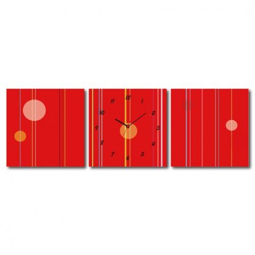 三聯式 方型 紅色 辦公室 設計感 普普風 無框畫 掛鐘 客廳 民宿 餐廳 飯店-深藏不漏30x30cm