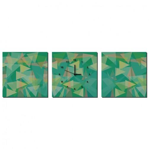 三聯式 方型 綠色 幾何 不規則 印象派 小孩房 掛鐘 掛畫 家飾品 輕改造-鏡像-30x30cm