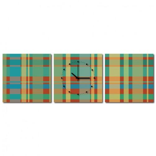 三聯式 方型 綠色 方塊 格子 幾何 不規則 小孩房 掛鐘 掛畫 家飾品 輕改造-方塊-30x30cm