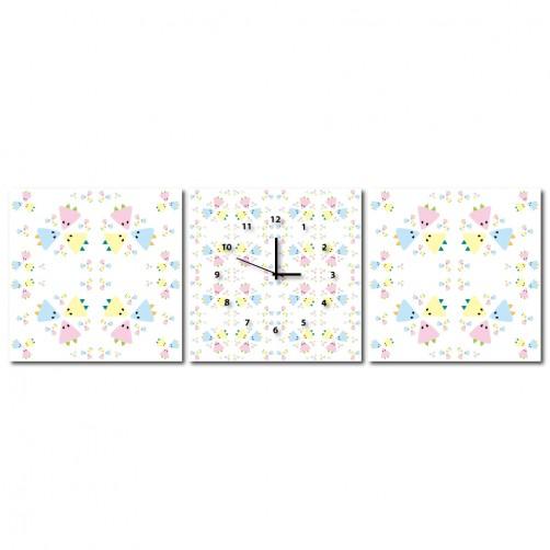 三聯式 方型 粉色 少女 幾何 不規則 繽紛 童趣 小孩房 掛鐘 壁鐘 鑽石布 掛畫 家飾品 輕改造 民宿-少女的心-30x30cm