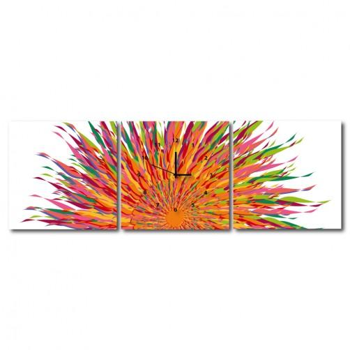 三聯式 方型 不規則 繽紛 童趣 小孩房 掛鐘 掛畫 家飾品-太陽神-30x30cm
