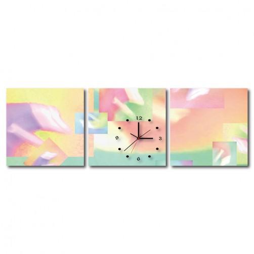 三聯式 方型 粉色 小孩房 掛鐘 掛畫 家飾品 輕改造-少女心-30x30cm