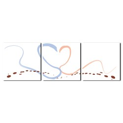 三聯式 方型 情人節 愛心 無框畫 掛畫 送禮 -心意30x30cm