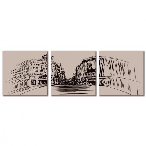 三聯式 方型 無框畫 掛鐘 壁畫 家飾品 建築物-復古街道30x30cm
