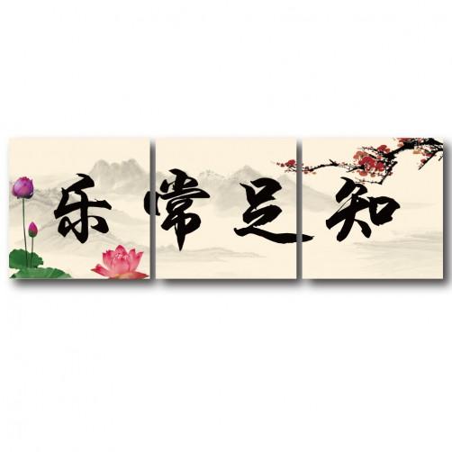 三聯式 方型 中國風 花卉 夕陽 無框畫 長輩禮 客廳 辦公室裝飾 喜氣 掛畫-知足常樂-30x30cm