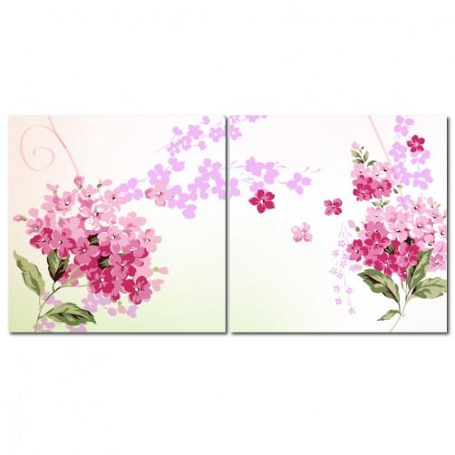二聯式 方型 無框畫 掛鐘 壁鐘 客廳 民宿 餐廳 飯店 花卉-繡球花 30x30cm