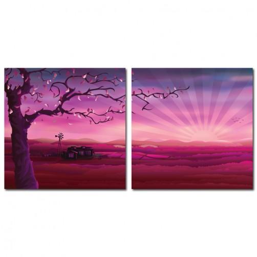 二聯式 方型 無框畫 掛鐘 壁鐘 油畫布 鑽石布掛畫 壁畫 家飾品-浪漫景色 30x30cm