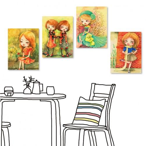24mama 四聯式插畫風無框畫 直幅 掛畫 30x40cm-小女孩系列
