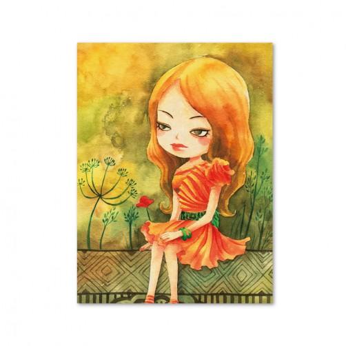 24mama 單聯式插畫風無框畫 直幅 掛畫 30x40cm-小女孩系列1