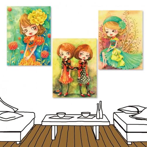 24mama 三聯式插畫風無框畫 直幅 掛畫 30x40cm-小女孩系列