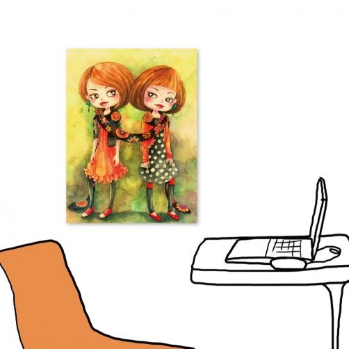 24mama 單聯式插畫風無框畫 直幅 掛畫 30x40cm-小女孩系列2