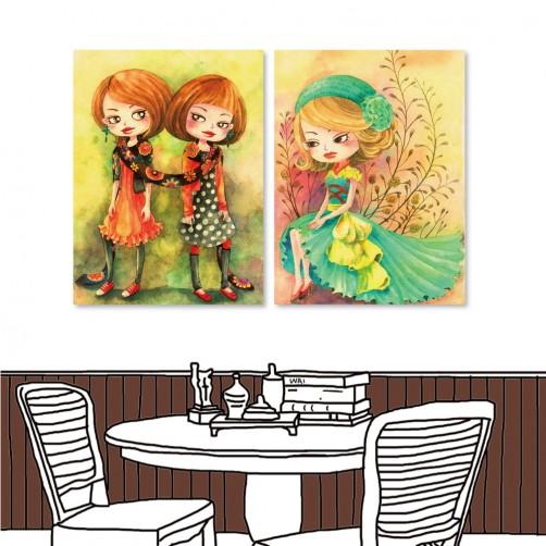 24mama 二聯式插畫風無框畫 直幅 掛畫 30x40cm-小女孩系列