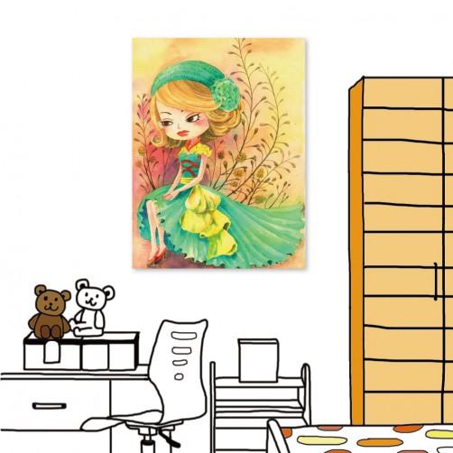 24mama 單聯式插畫風無框畫 直幅 掛畫 30x40cm-小女孩系列3