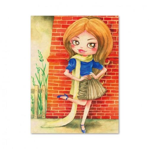 24mama 單聯式插畫風無框畫 直幅 掛畫 30x40cm-小女孩系列4