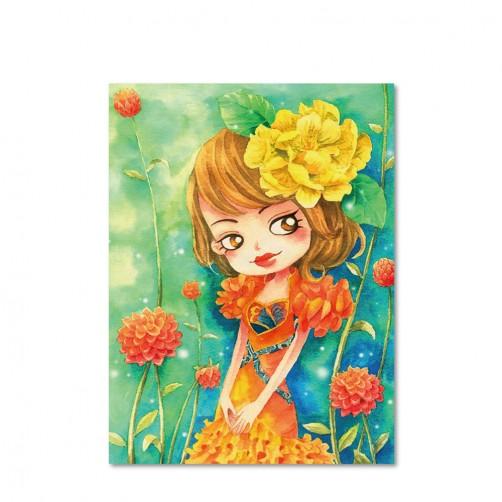 24mama 單聯式插畫風無框畫 直幅 掛畫 30x40cm-小女孩系列5