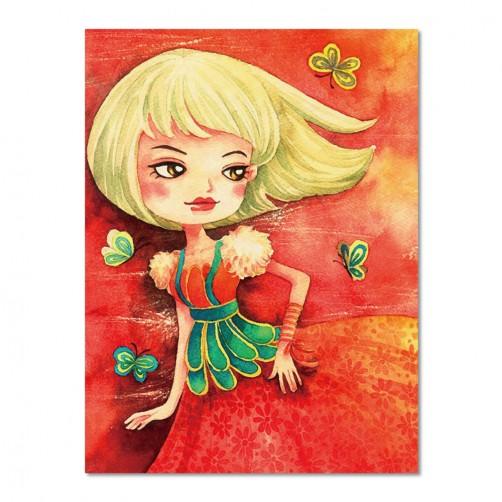24mama 單聯式插畫風無框畫 直幅 掛畫 30x40cm-小女孩系列6