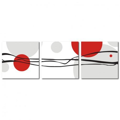 三聯式 方型 無框畫 掛鐘 客廳 民宿 餐廳 飯店-線條與圓30x30cm