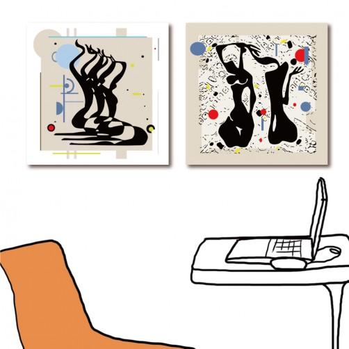 二聯式 方型 人物 抽象掛畫 民宿飯店裝潢 辦公室 室內裝潢 家飾品 傢俱佈置-人的抽象30x30cm