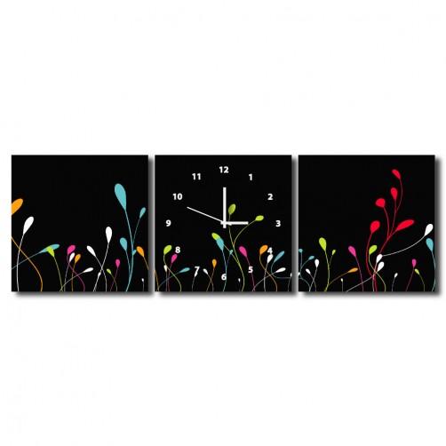 三聯式 方型 花卉 抽象 掛畫時鐘 掛鐘 無框畫 民宿裝潢 飯店佈置 流行家飾-彩虹豆芽-30x30cm