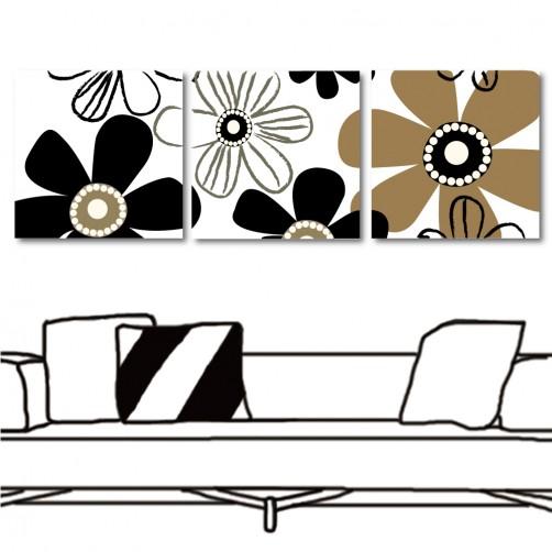 【123點點貼】 時尚壁貼 無框畫壁貼 流行家飾 三聯式 方形30x30cm-日日朝氣