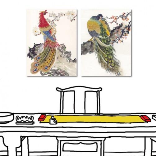 中國風無框畫 家居掛畫 室內裝潢 二聯式 直幅 30x40cm-艷鳥