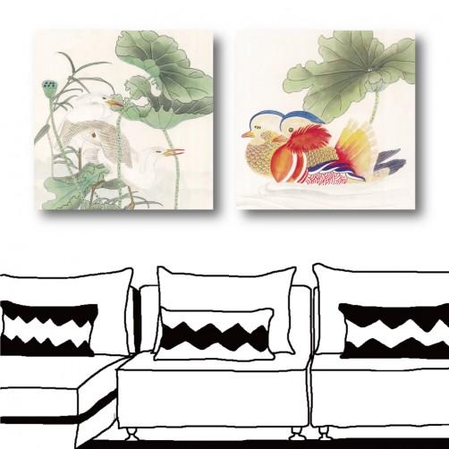 二聯式 方型  動物 鳥 中國風 中式掛畫 無框畫 民宿裝潢 辦公室佈置 家居裝潢-成雙成對-30x30cm