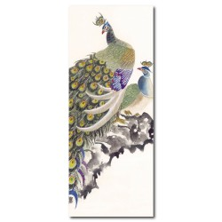24mama 停歇-單聯式/直幅/動物/孔雀/鳥/中國風/餐廳佈置-孔雀停歇-20x50cm