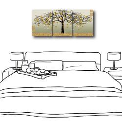 三聯式 直型 無框畫 掛鐘 壁鐘 油畫布 鑽石布掛畫 壁畫 家飾品-發財樹30x40cm