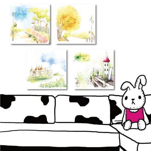 四聯式 方型 手繪風 小孩房裝飾 書房 幼稚園裝潢 無框畫 掛畫 民宿裝潢-童話世界-30x30cm