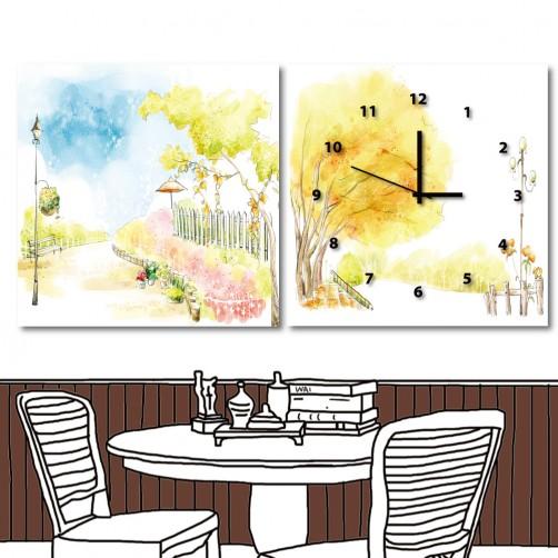 二聯式 方形 無框畫 風景 水彩手繪風小孩房裝飾 幼稚園裝潢 童趣掛畫 補習班時鐘 掛鐘 -童話夢境-30x30cm