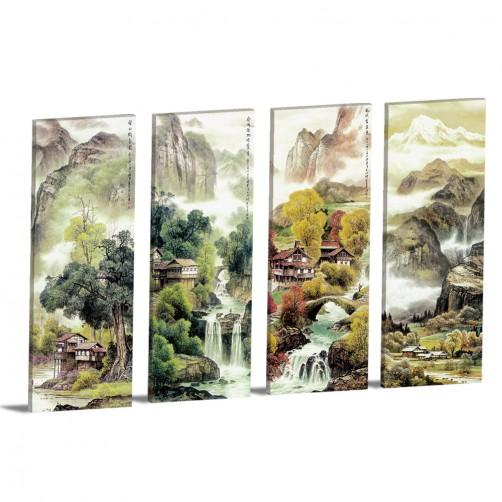 四聯式 直式 山水 風景 長壽 長輩禮 辦公室 家居裝飾 餐廳 民宿-油情山水30x80cm