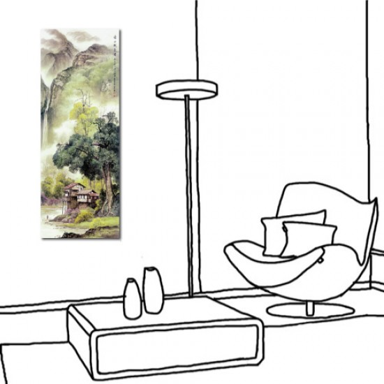 24mama 單聯式 直幅 山水 風景 長壽 長輩禮 辦公室 家居裝飾 餐廳 民宿-綠水織春圖30x80cm