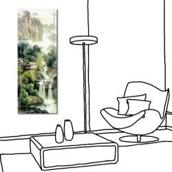 24mama 單聯式 直幅 山水 風景 長壽 長輩禮 辦公室 家居裝飾 餐廳 民宿-染成綠幽暗覺香30x80cm