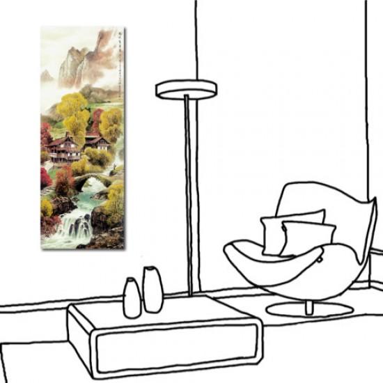 24mama 單聯式 直幅 山水 風景 長壽 長輩禮 辦公室 家居裝飾 餐廳 民宿-風吹杏金黃30x80cm
