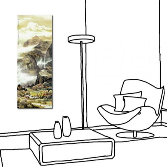 24mama 單聯式 直幅 山水 風景 長壽 長輩禮 辦公室 家居裝飾 餐廳 民宿-瑞雪伴春歸30x80cm